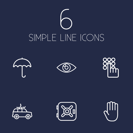 Collection Of Safe, Keypad, Siren And Other Elements.  Set Of 6 Security Outline Icons Set.