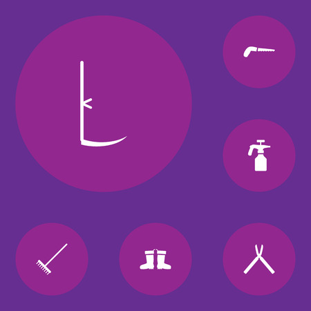 tree trimming: Collection Of Rake, Hacksaw, Rubber Boots And Other Elements.  Set Of 6 Farm Icons Set. Illustration