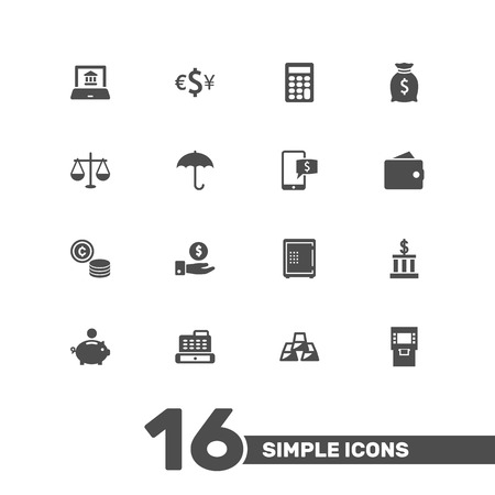 Collection Of Ingot, Piggy Bank, Calculate And Other Elements.  Set Of 16 Budget Icons Set.