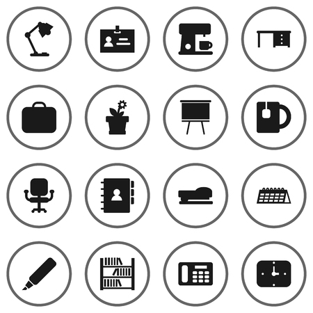 case: Collection Of Case, Book, Blackboard And Other Elements.  Set Of 16 Workspace Icons Set.