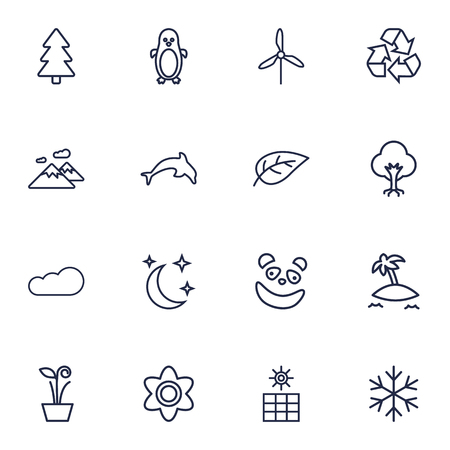 antarctic: Collection Of Moon With Star, Leaf, Recycle And Other Elements.  Set Of 16 Bio Outline Icons Set. Illustration