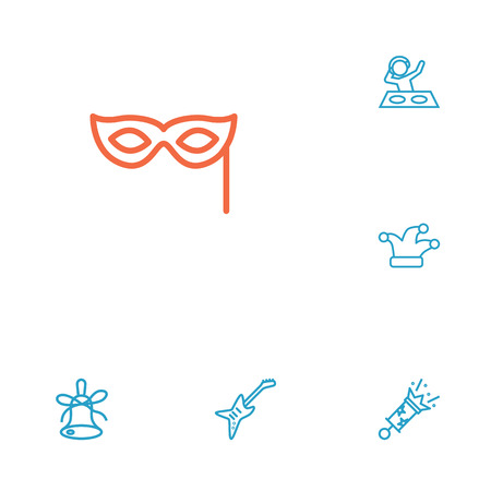 Set Of 6 Cheerful Outline Icons Set.Collection Of Mask, Party, Jester And Other Elements.
