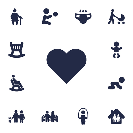 Collection Of Perambulator, Cot, Kid And Other Elements.  Set Of 13 Family Icons Set.