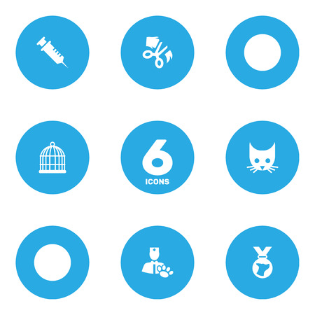 Collection Of Cat, Injection, Birdcage And Other Elements.  Set Of 6 Pets Icons Set. Illustration