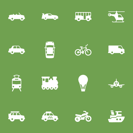 Collection Of Motorbike, Airship, Streetcar And Other Elements.  Set Of 16 Shipping Icons Set.