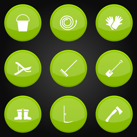 Collection Of Shovel, Latex, Pruner And Other Elements.  Set Of 9 Farm Icons Set. Illustration