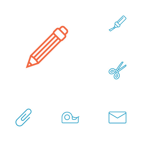 stapled: Collection Of Drawing, Sticky, Marker And Other Elements.  Set Of 6 Stationery Outline Icons Set.
