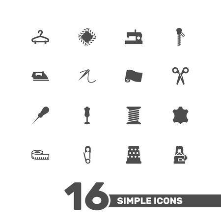 hangers: Collection Of Meter, Cutter, Eyelet And Other Elements.  Set Of 16 Stitch Icons Set.