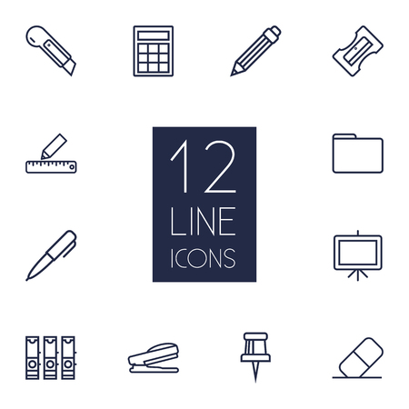 school class: Set Of 12 Tools Outline Icons Set.Collection Of Eraser, Portfolio, Pushpin And Other Elements.