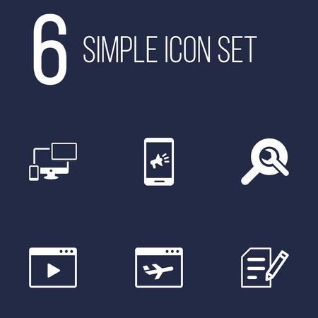 Set Of 6 Optimization Icons Set.Collection Of Airplane, Movie, Marketing And Other Elements.
