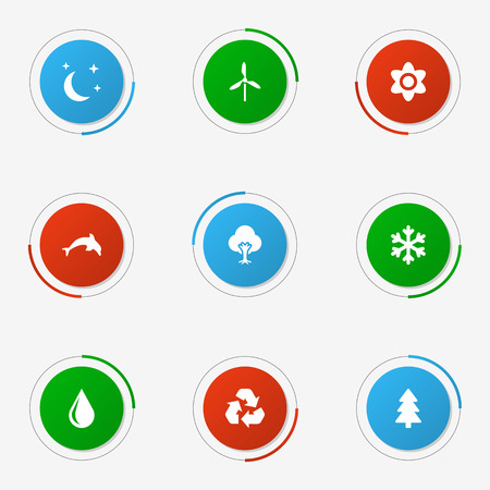 Collection Of Conservation, Grampu, Midnight And Other Elements.  Set Of 9 Natural Icons Set.