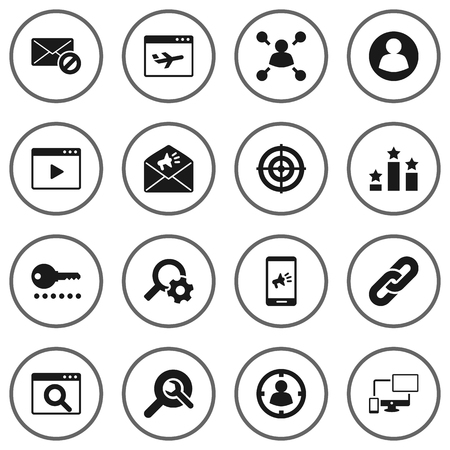 keywords: Collection Of Responsive, Engine, Airplane And Other Elements.  Set Of 16 Engine Icons Set. Illustration