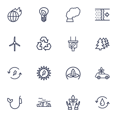 contamination: Collection Of Ecol, Garbage, Nature And Other Elements.  Set Of 16 Atmosphere Outline Icons Set.