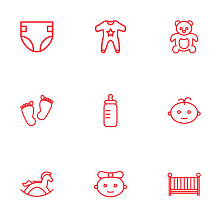 huggable: Collection Of Footprints, Boy, Teddy And Other Elements.  Set Of 9 Kid Outline Icons Set. Illustration