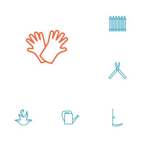 가위, Palisade, 허브 및 다른 요소의 컬렉션입니다. 6 원예 개요 아이콘 집합의 집합입니다.