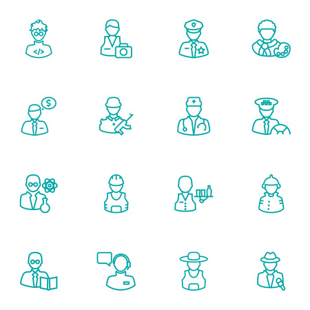 scholarly: Set Of 16 Professions Outline Icons Set.Collection Of Artist, Firefighter, Doctor And Other Elements.