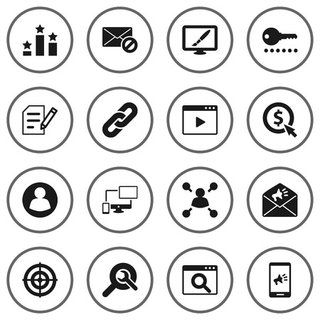 Set Of 16 Optimization Icons Set.Collection Of Movie, Sale, Dartboard And Other Elements.