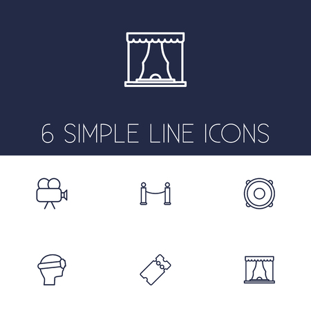 prestige: Collection Of Theater, Barrier Rope, Ticket And Other Elements.  Set Of 6 Pleasure Outline Icons Set. Illustration