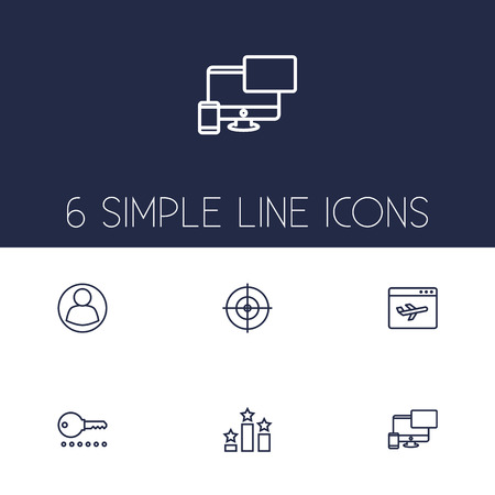 Collection Of Columns, Password, Goal And Other Elements.  Set Of 6 Search Outline Icons Set.
