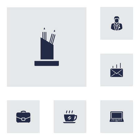 case: Collection Of Coffee, Laptop, Pencil Stand Elements.  Set Of 6 Bureau Icons Set. Illustration
