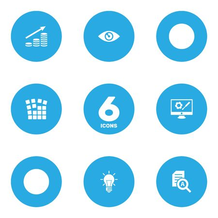 reviews: Collection Of Vision, Document Checking, Bulb And Other Elements.  Set Of 6 Startup Icons Set.