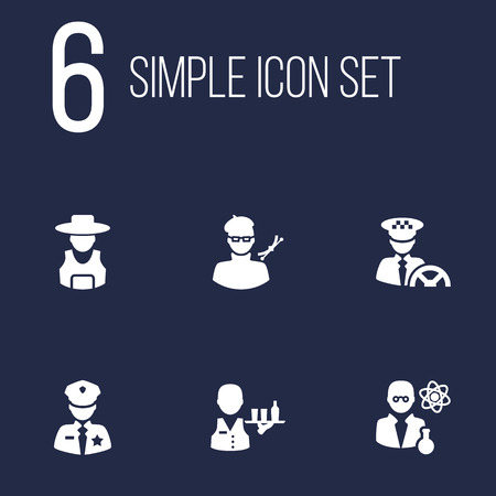 Collection Of Tray, Scholarly, Planner And Other Elements.  Set Of 6 Position Icons Set.