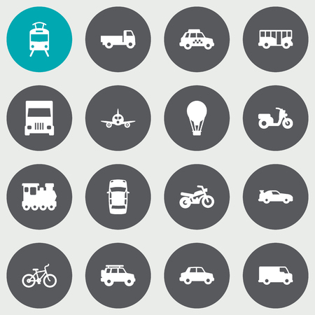 velocipede: Collection Of Hatchback, Aircraft, Wagon And Other Elements.  Set Of 16 Shipping Icons Set.  Illustration