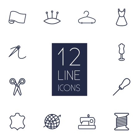 nib: Collection Of Pincushion, Dress, Dummy And Other Elements.  Set Of 12 Tailor Outline Icons Set.