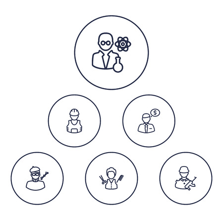 scholarly: Collection Of Designer, Worker, Scientist And Other Elements.  Set Of 6 Job Outline Icons Set. Illustration
