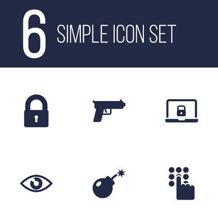 security monitor: Collection Of Shot, Padlock, Dynamite And Other Elements.  Set Of 6 Procuring Icons Set. Illustration