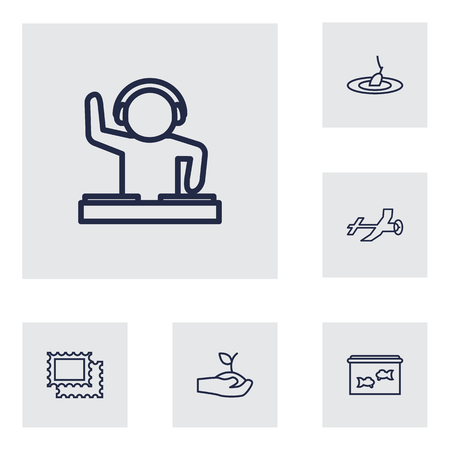 sinker: Collection Of Aquarium, Dj, Aeromodeling And Other Elements.  Set Of 6 Hobbie Outline Icons Set.