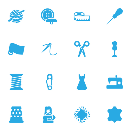 Collection Of Bodkin, Meter, Clothier And Other Elements.  Set Of 16 Tailor Icons Set.