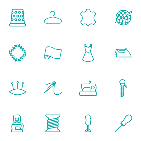 Set Of 16 Stitch Outline Icons Set.Collection Of Tremble, Sewing, Crochet And Other Elements.