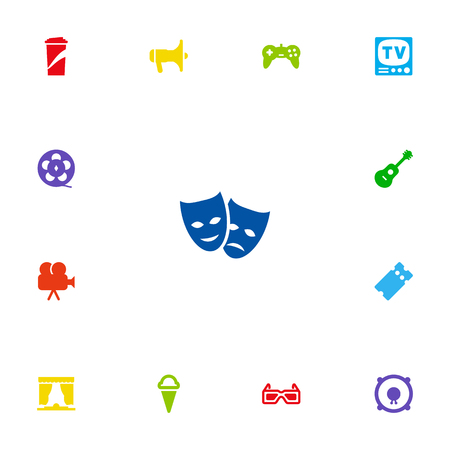 Collection Of Loudspeakers, Acoustic, Television And Other Elements.  Set Of 13 Amusement Icons Set.
