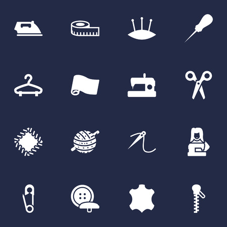 Collection Of Knitting, Embroidered, Cutter And Other Elements.  Set Of 16 Tailor Icons Set.
