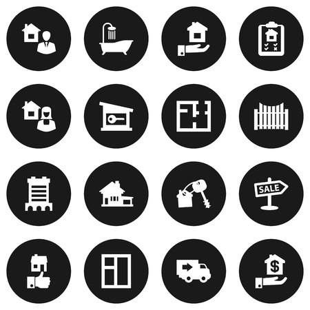 residency: Set Of 16 Estate Icons Set.Collection Of Real Estate Agent, Broker, Advertisement And Other Elements. Illustration