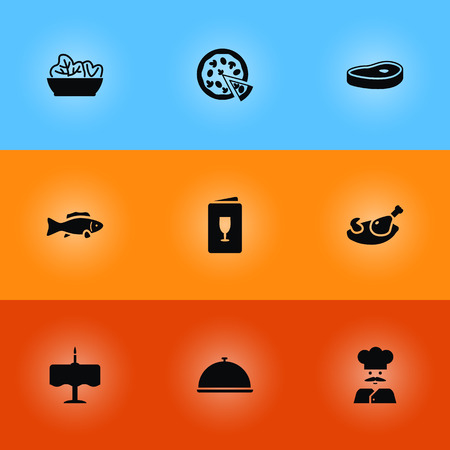 Set Of 9 Bar Icons Set.Collection Of Dinner Desk, Tray, Meat And Other Elements. Illustration