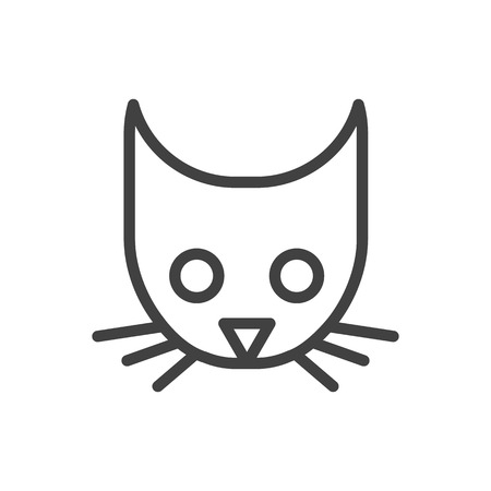 Isolated Cat Outline Symbol On Clean Background. Vector Head Element In Trendy Style.