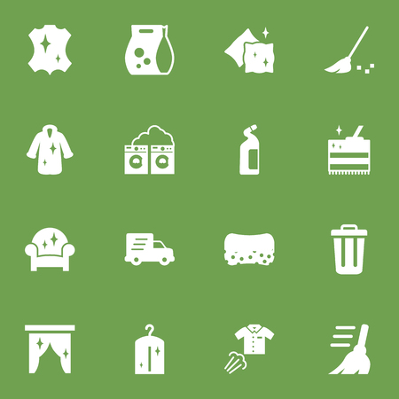 Set Of 16 Cleaning Icons Set.Collection Of Broom, Dry, Washing Powder And Other Elements. Stock Vector - 83979175