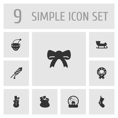 ice: Set Of 9 Year Icons Set.Collection Of Decoration, Magic Sphere, Ice Person And Other Elements. Illustration