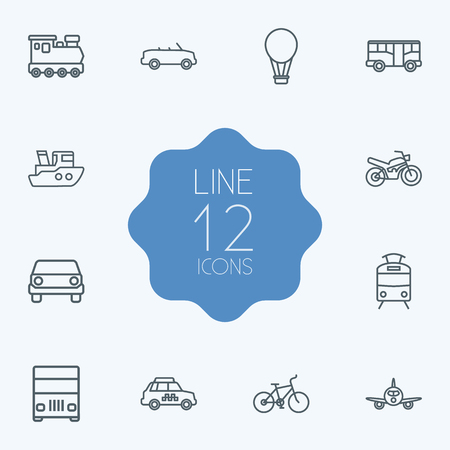 camion: Set Of 12 Transport Outline Icons Set.Collection Of Air Balloon, Tram, Bike And Other Elements.
