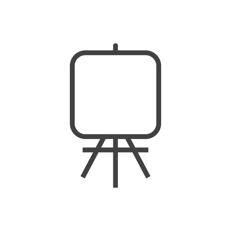Isolated Stand Outline Symbol On Clean Background. Vector Easel Element In Trendy Style.