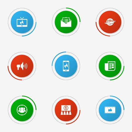 Set Of 9 Trade Icons Set.Collection Of Like, World, Message And Other Elements.
