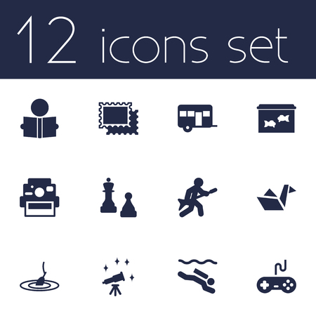 Set Of 12 Entertainment Icons Set.Collection Of Collecting, Learning, Rod And Other Elements.