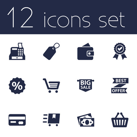 Set Of 12 Store Icons Set.Collection Of Basket, Cargo, Label And Other Elements.