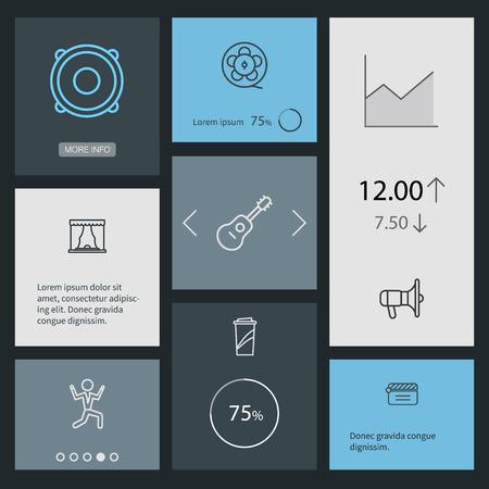 Set van 8 entertainment overzicht Icons Set.Collection van Clapperboard, filmrol, spreker en andere elementen.