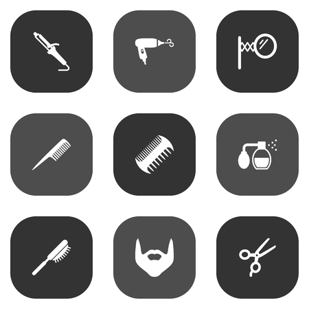 mirror: Set Of 9 Barber Icons Set.Collection Of Instrument, Blow-Dryer, Looking-Glass And Other Elements. Illustration