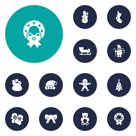 huggable: Set Of 12 Holiday Icons Set.Collection Of Cap, Fir, Cookie And Other Elements.