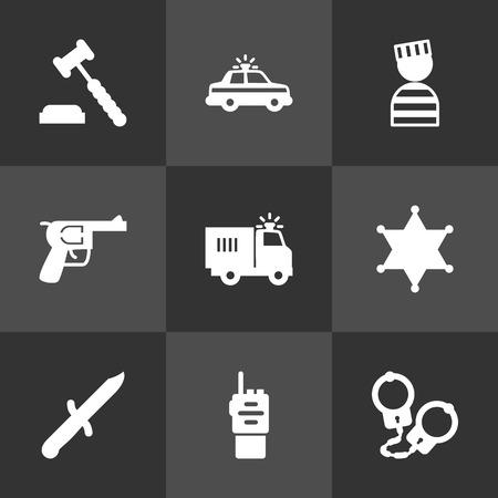 jailer: Set Of 9 Crime Icons Set.Collection Of Bayonet, Judge Gavel, Prisoner And Other Elements. Illustration