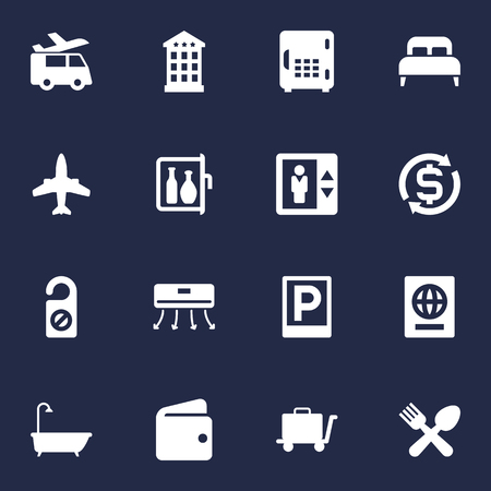 Set Of 16 Motel Icons Set.Collection Of Citizenship, Bedroom, Bathtub And Other Elements.
